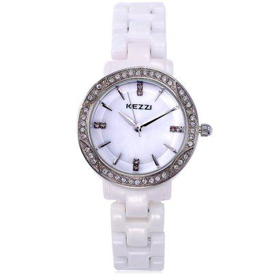 Kezzi Analog Diamond Ladies Quartz Watch Round Dial Ceramic Strap