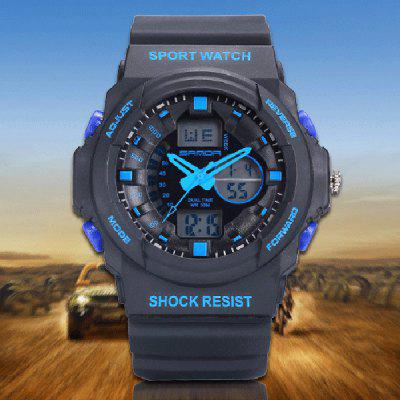 Sanda 241 Outdoor Sports LED Watch Army Militray Dual Movt Wristwatch