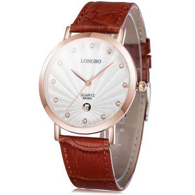 Longbo 8858A Men Imported Quartz Watch with Date Function Leather Band