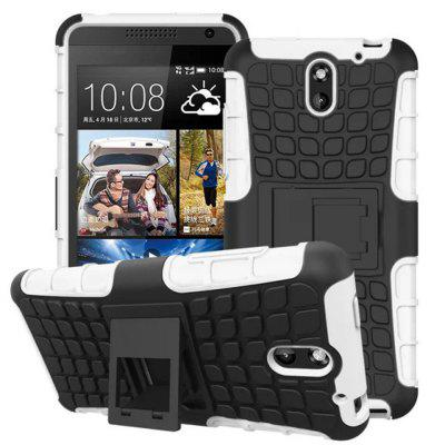 Stand Design TPU and PC Material Tire Pattern Protective Back Cover Case for HTC Desire 610