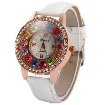 Weijieshi Ladies Coloful Diamond Quartz Watch with Leather Band Round Dial