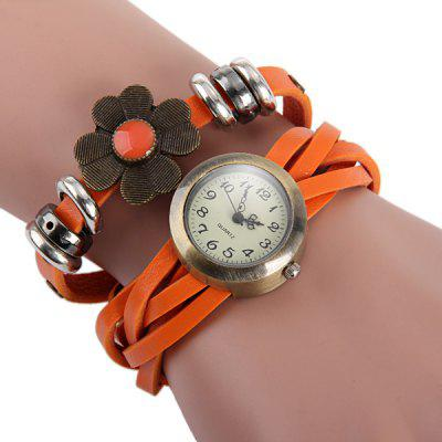 Women Retro Quartz Watch Weave Wrap around Leather Strap Four Leaf Cover Wristwatch