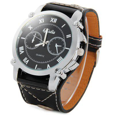Kaladia 5901 Wide Leather Band Quartz Watch Male Wristwatch