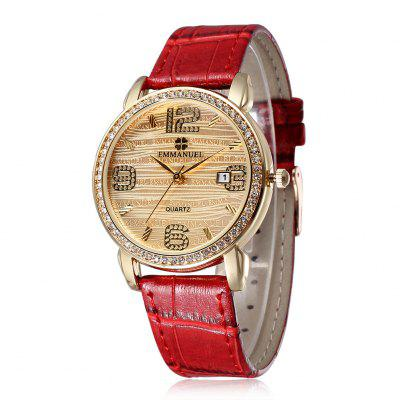 Emmanuel 2269 Lady Diamond Quartz Watch Golden Face Date Display Wristwatch