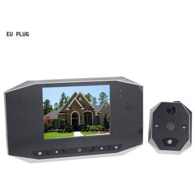 3.5 inch LCD Digital Smart Door Viewer Doorbell with Security Camera EU Plug