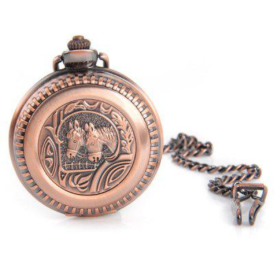 Retro Horse Face Flip Quartz Pocket Watch with Clips
