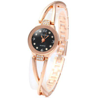 Golou G008 Diamond Female Quartz Chain Watch with Steel Band