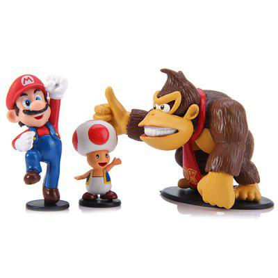 3Pcs Game Super Mario and Brothers Figure Models Mushroom Donkey Kong