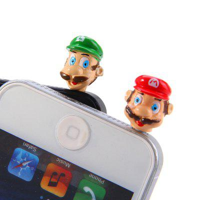 2Pcs Super Mario Style  Anti - dust Plugy 3.5mm Earphone Jack Stopper Cap