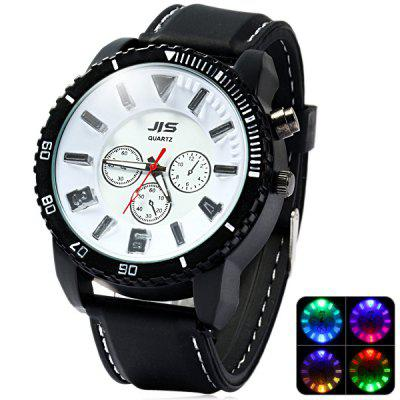 JIS Colorful Light Quartz Watch with Stereo Scale Rubber Band for Man