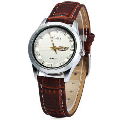 Yulan 2836L Soft Leather Band Quartz Watch with Date Day Function for Ladies