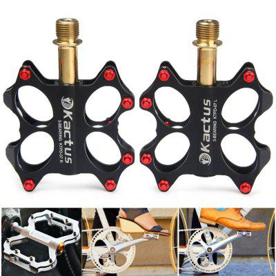 Kactus KTPD  -  07 CNC Bike MTB Platform Flat Pedals with Gold - plating Titanium Axle  -  2Pcs