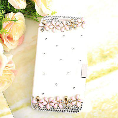 Luxury Bling Flowers Rhinestone PU Leather Protective Cover Case for Samsung Galaxy S6 G9200