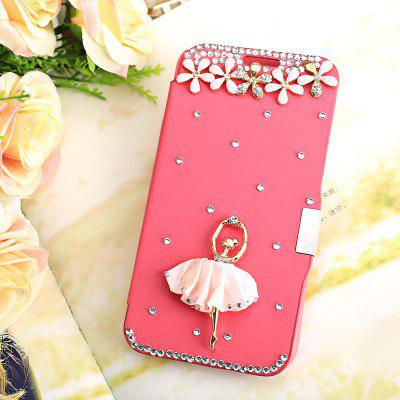 Luxury Bling Rhinestone PU Leather Protective Cover Case for Samsung Galaxy S6 G9200 Ballerine Decor