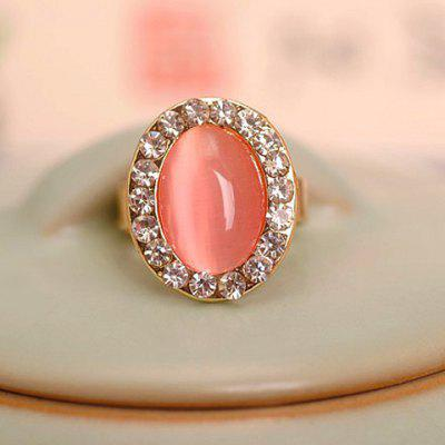 Faux Opal Rhinestone Decorated Oval Shape Ring