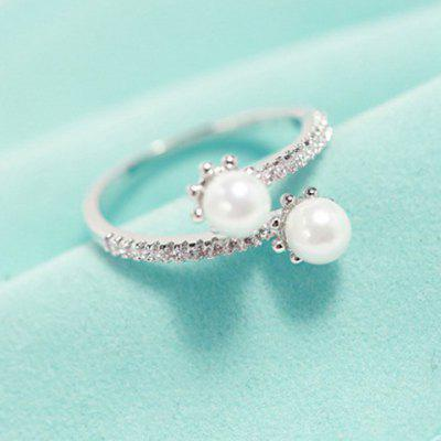 Delicate Faux Pearl Decorated Cuff Ring For Women