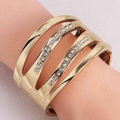 Chic Rhinestone and Openwork Wave Shape Design Alloy Bracelet For Women