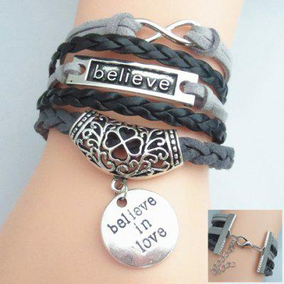 Letter Openwork Flower Pattern Weaved Layered Friendship Bracelet