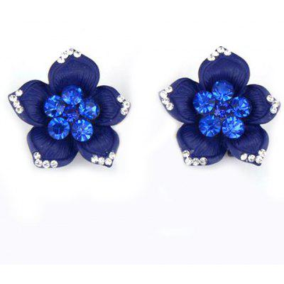 Pair of Alloy Rhinestone Flower Painted Stud Earrings