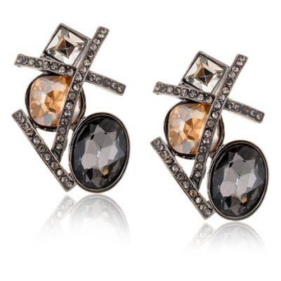 Pair of Chic Retro Style Rhinestone Embellished Cross Shape Earrings For Women