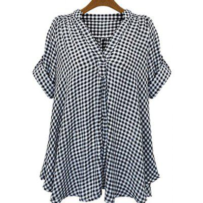 Stand-Up Collar Short Sleeve Plaid Loose-Fitting Blouse