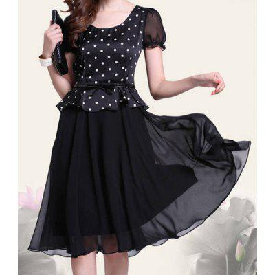 Retro Style Scoop Neck Polka Dot Print Color Block Short Sleeve Women's Dress