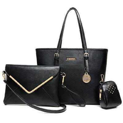 Graceful Buckles and Metallic Pendant Design Women's Shoulder Bag