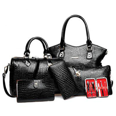 Stylish Crocodile Print and Zip Design Solid Color Women's Tote Bag