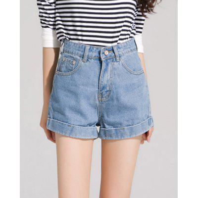 Stylish Button Fly High-Waisted Bleach Wash Denim Light Blue Shorts Women