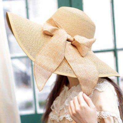 Bowknot Lace-Up Broad Brimmed Beach Straw Hat