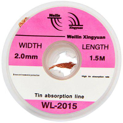WLXY WL  -  2015 Tin Absorption Band / Line Width 2.0mmSoldering Supplies<br>WLXY WL  -  2015 Tin Absorption Band / Line Width 2.0mm<br><br>Brand: WLXY<br>Color: Coppery<br>Function: for precision circuits, Desoldering wonders and thoroughly<br>Material: Metal<br>Model: WL-2015<br>Package Contents: 1 x Tin Absorption Line<br>Package size (L x W x H): 8.00 x 6.00 x 3.00 cm / 3.15 x 2.36 x 1.18 inches<br>Package weight: 0.021 kg<br>Product size (L x W x H): 4.50 x 4.50 x 1.50 cm / 1.77 x 1.77 x 0.59 inches<br>Product weight: 0.005 kg<br>Special features: 1.5m Lenth, Copper alloy precision woven,  High absorption Rate,  2.0mm Width,  Eco-friendly<br>Type: Hand tools