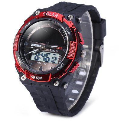Skmei 1049 Solar Power Analog Digital LED Watch Military Army Sports Watch 50M Water Resistant Date WeekSports Watches<br>Skmei 1049 Solar Power Analog Digital LED Watch Military Army Sports Watch 50M Water Resistant Date Week<br><br>Available Color: Black,Red,Blue,Gold<br>Band material: Rubber<br>Brand: Skmei<br>Case material: PC<br>Clasp type: Pin buckle<br>Display type: Analog-Digital<br>Movement type: Double-movtz<br>Package Contents: 1 x Watch<br>People: Unisex table<br>Product size (L x W x H): 24 x 4.4 x 1.5 cm / 9.4 x 1.7 x 0.6 inches<br>Product weight: 0.05 kg<br>Shape of the dial: Round<br>Special features: Week, Date, EL Back-light<br>The band width: 2.0 cm / 0.8 inches<br>The dial diameter: 4.4 cm / 1.7 inches<br>The dial thickness: 1.5 cm / 0.6 inches<br>Watch style: Outdoor Sports, LED, Military<br>Water resistance: 50 meters