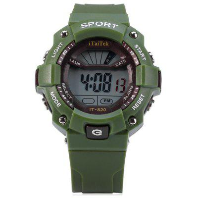 iTaiTek IT  -  820 LED Sports LED Watch Week Date Alarm Chronograph 50M Water Resistant WristwatchSports Watches<br>iTaiTek IT  -  820 LED Sports LED Watch Week Date Alarm Chronograph 50M Water Resistant Wristwatch<br><br>Available Color: Green,Blue,Red,Black<br>Band material: PVC Plastic<br>Case material: Plastic<br>Clasp type: Pin buckle<br>Display type: Digital<br>Movement type: Digital watch<br>Package Contents: 1 x Watch<br>Package size (L x W x H): 26.00 x 6.00 x 3.00 cm / 10.24 x 2.36 x 1.18 inches<br>Package weight: 0.0930 kg<br>People: Unisex table<br>Product size (L x W x H): 25.00 x 4.50 x 1.50 cm / 9.84 x 1.77 x 0.59 inches<br>Product weight: 0.0430 kg<br>Shape of the dial: Round<br>Special features: Stopwatch, Week, Date, Alarm Clock<br>The band width: 2.0 cm / 0.8 inches<br>The dial diameter: 4.5 cm / 1.8 inches<br>The dial thickness: 1.5 cm / 0.6 inches<br>Watch style: Outdoor Sports, Fashion&amp;Casual, LED, Military<br>Water resistance: 50 meters