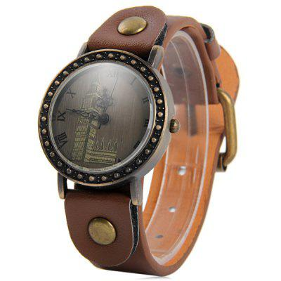 Buy BROWN Retro Women Quartz Big Ben Watch with Round Dial Leather Strap for $6.68 in GearBest store