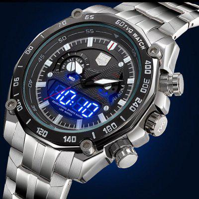 Tvg KM - 3168 Male Dual Time LED Watch Military Outdoor Sports Wristwatch