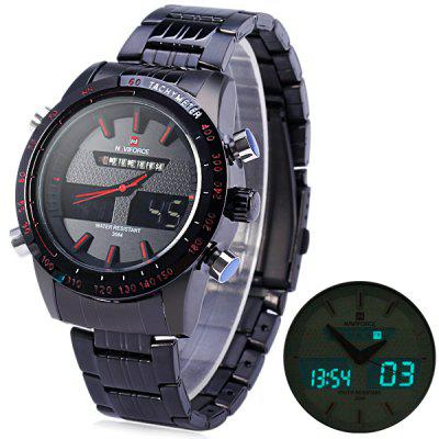 Naviforce 9024 Stainless Steel Body Men Dual Movt Watch with Date Day  Function