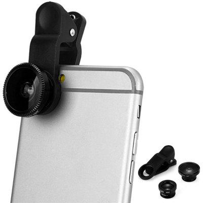 LP 3001 3 in 1 Universal Clamp Camera Lens Including Fisheye Macro and Wide Angle universal fisheye wide angle macro lens for mobile phone silver