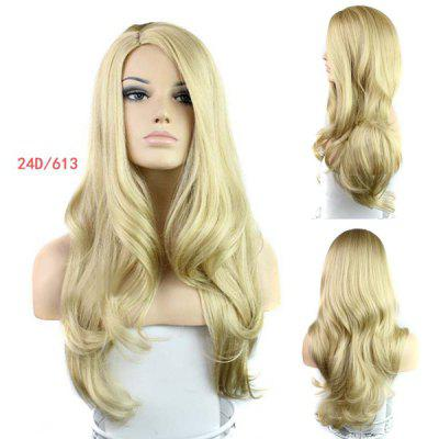 Buy GOLDEN Europe Style Side Bang Fluffy Long Loose Wavy Kanekalon Women's Synthetic Blonde Wig for $19.12 in GearBest store