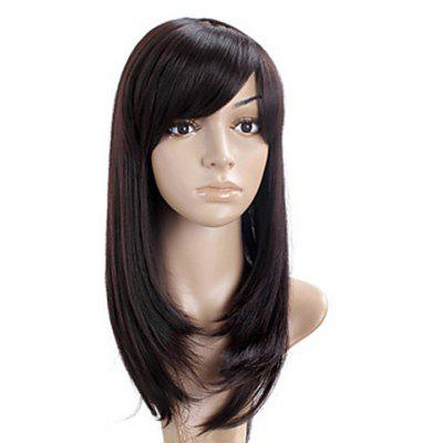 Buy DEEP BROWN Trendy Side Bang Charming Straight Deep Brown Synthetic Capless Wig For Women for $18.35 in GearBest store
