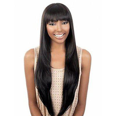 Buy BLACK Exquisite Full Bang Extra Long Straight Black Synthetic Wig For Women for $20.13 in GearBest store