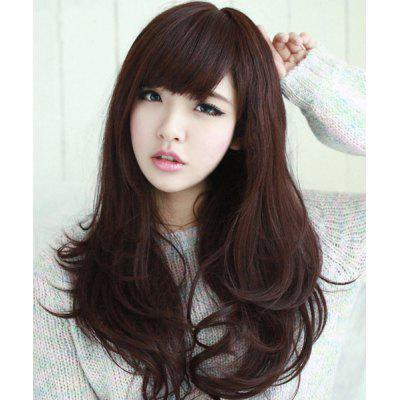 Buy DEEP BROWN Fashion Fluffy Neat Bang Long Wavy Ladylike Chestnut Brown Synthetic Wig For Women for $19.64 in GearBest store