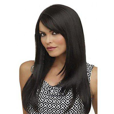Buy BLACK Fashion Side Bang Charming Long Natural Straight Black Heat Resistant Synthetic Capless Wig For Women for $20.55 in GearBest store