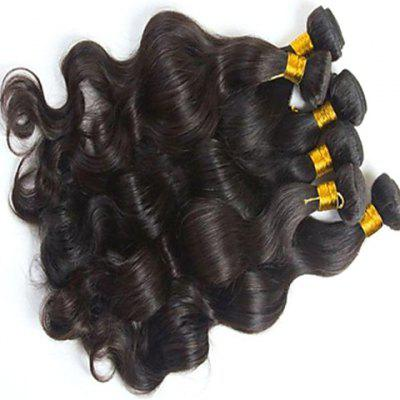 Fluffy 5A Indian Virgin Hair Natural Black Body Wavy Women's Remy Human Hair Weft 20 Inch