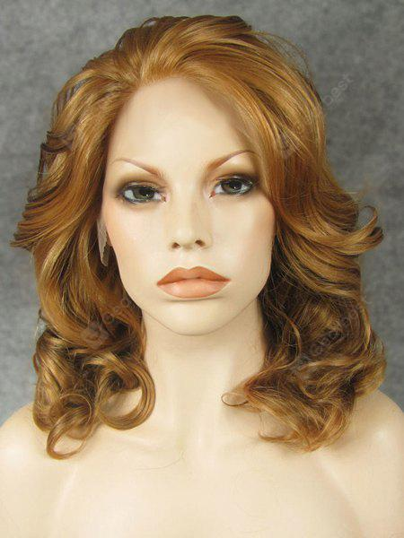 Fluffy Medium Length Golden Blonde Heat Resistant Synthetic Lace Front Wig For Women