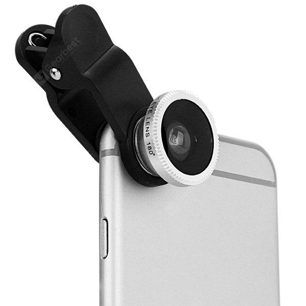 LP 3001 3 in 1 Universal Clamp Camera Lens Including Fisheye Macro and Wide Angle - Silver