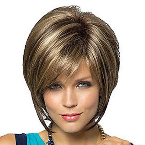Fashion Side Bang Charming Short Straight Dark Brown Mixed Blonde Heat Resistant Synthetic Capless Wig For Women
