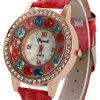 Weijieshi Ladies Coloful Diamond Quartz Watch with Leather Band Round Dial - RED
