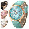 Geneva Bright Colors Leather Band Ladies Fashion Quartz Watch - WHITE