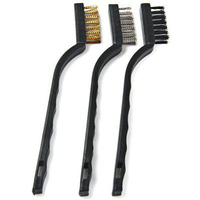 WLXY 3PCS Steel Brass Nylon Bristle Wire Brush For Cleaning