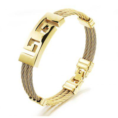 Sporty Fret Design Cable Layered Bracelet